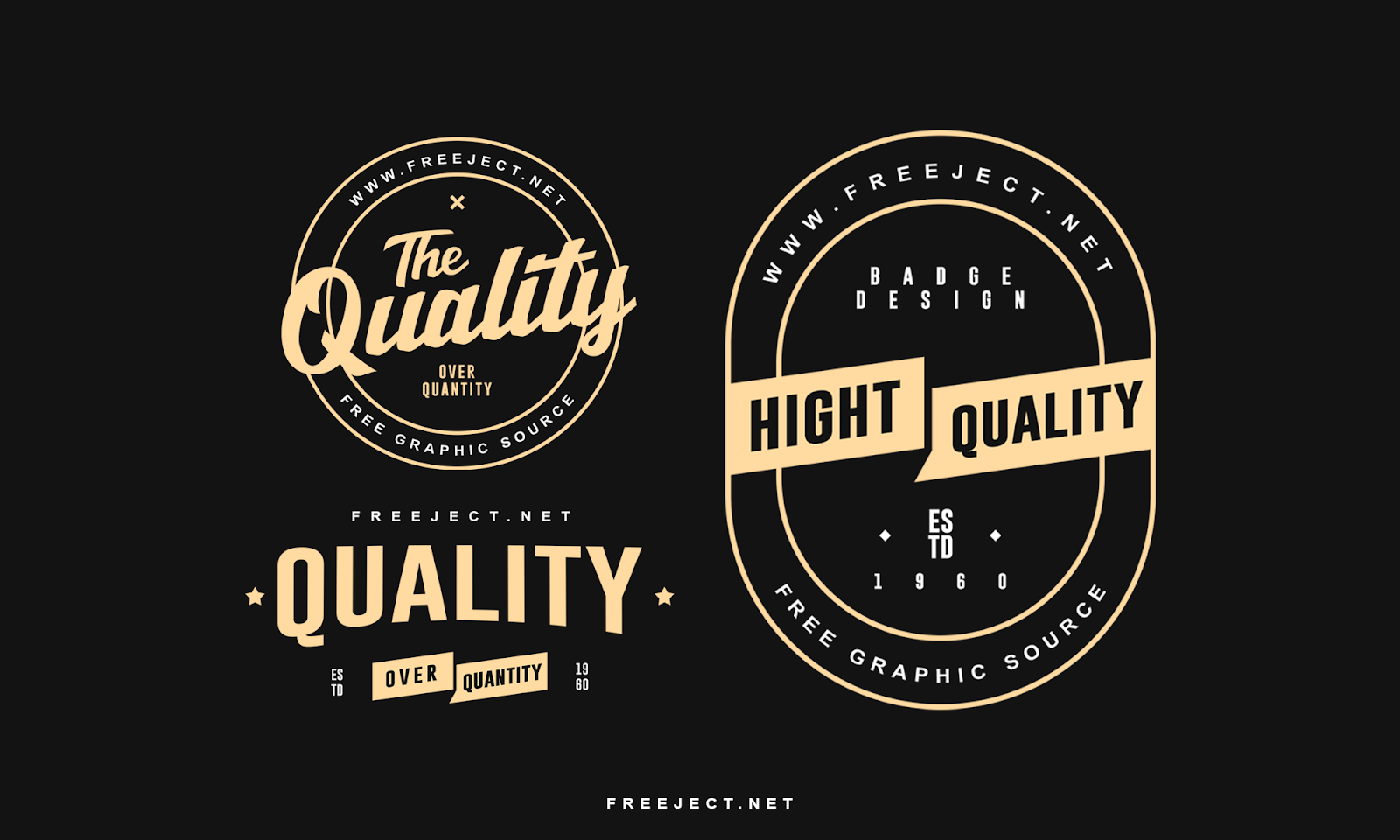 Free Download Quality Badge logo Template PSD File