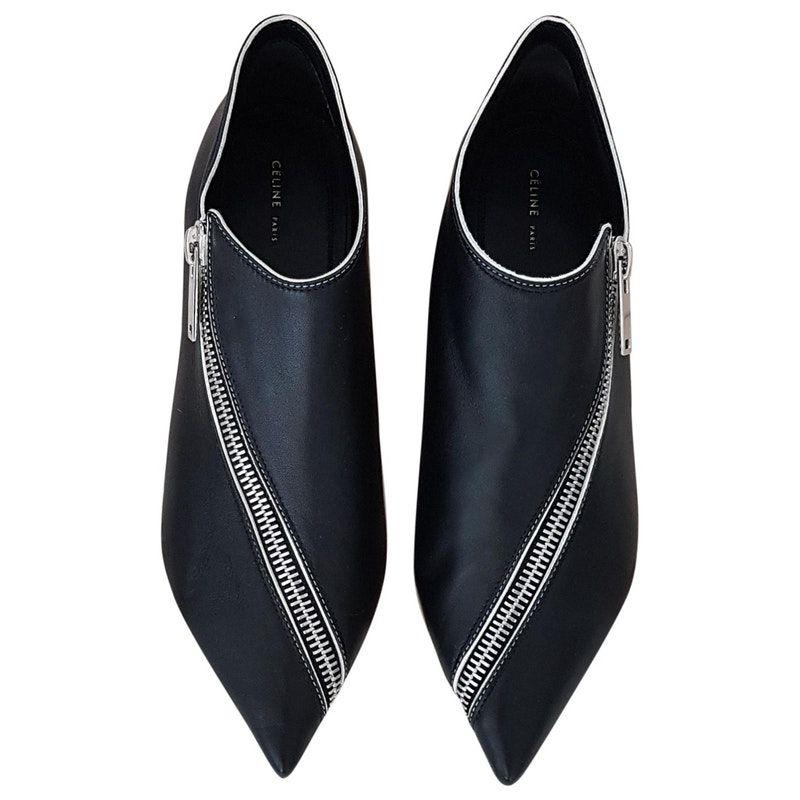 571b21107 black Plain Leather CÉLINE Ankle boots - Vestiaire Collective
