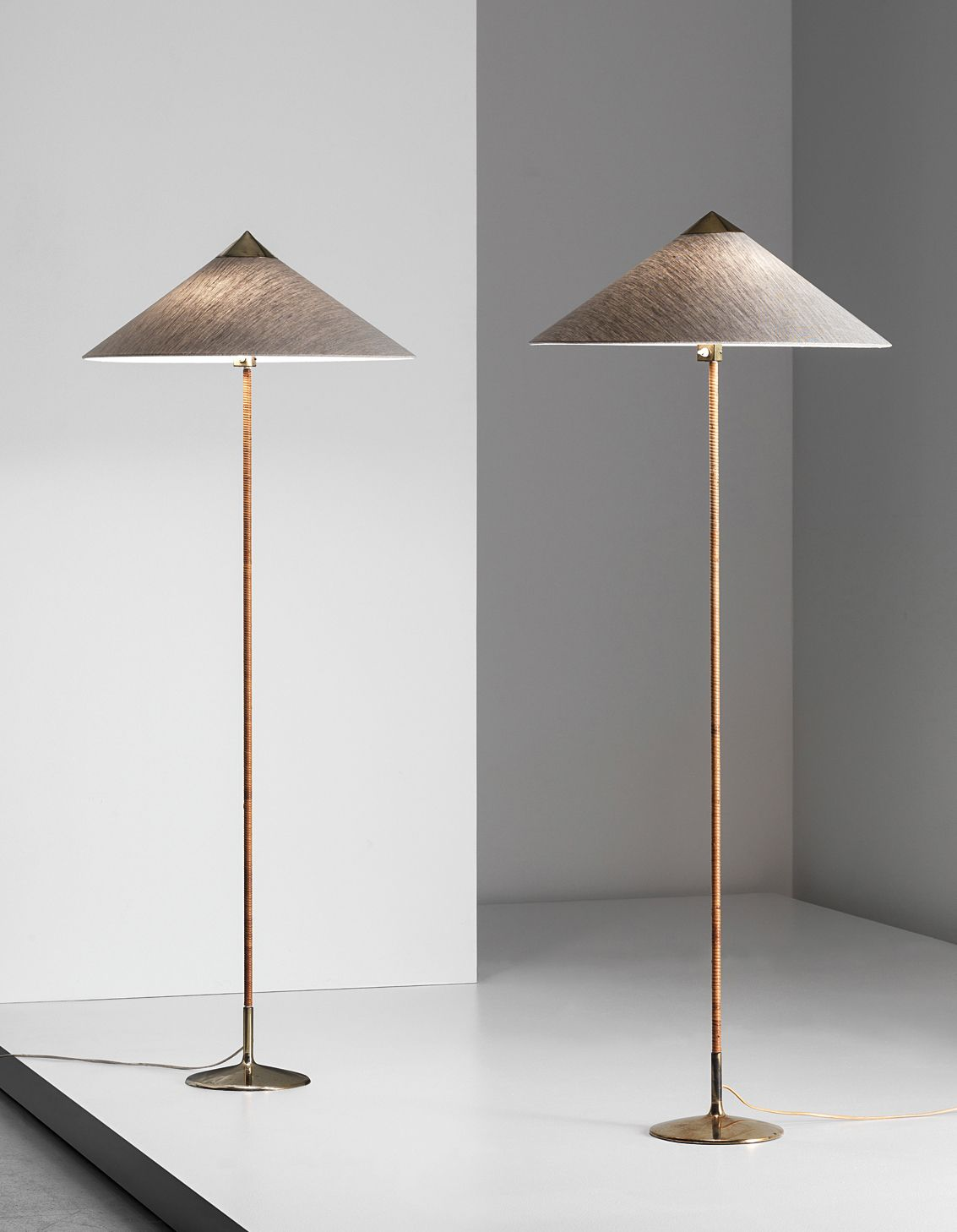 Paavo tynell pair of standard lamps model no 6902 1950s m paavo tynell painted metal brass and leather floor lamps for taito oy aloadofball Images
