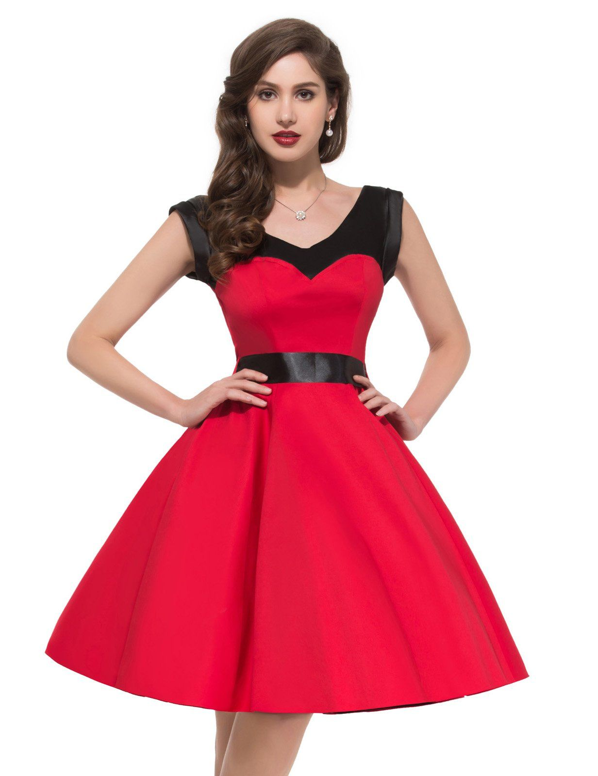 Robot Check Vintage Red Dress Red Dresses Classy Retro Vintage Dresses [ 1600 x 1232 Pixel ]