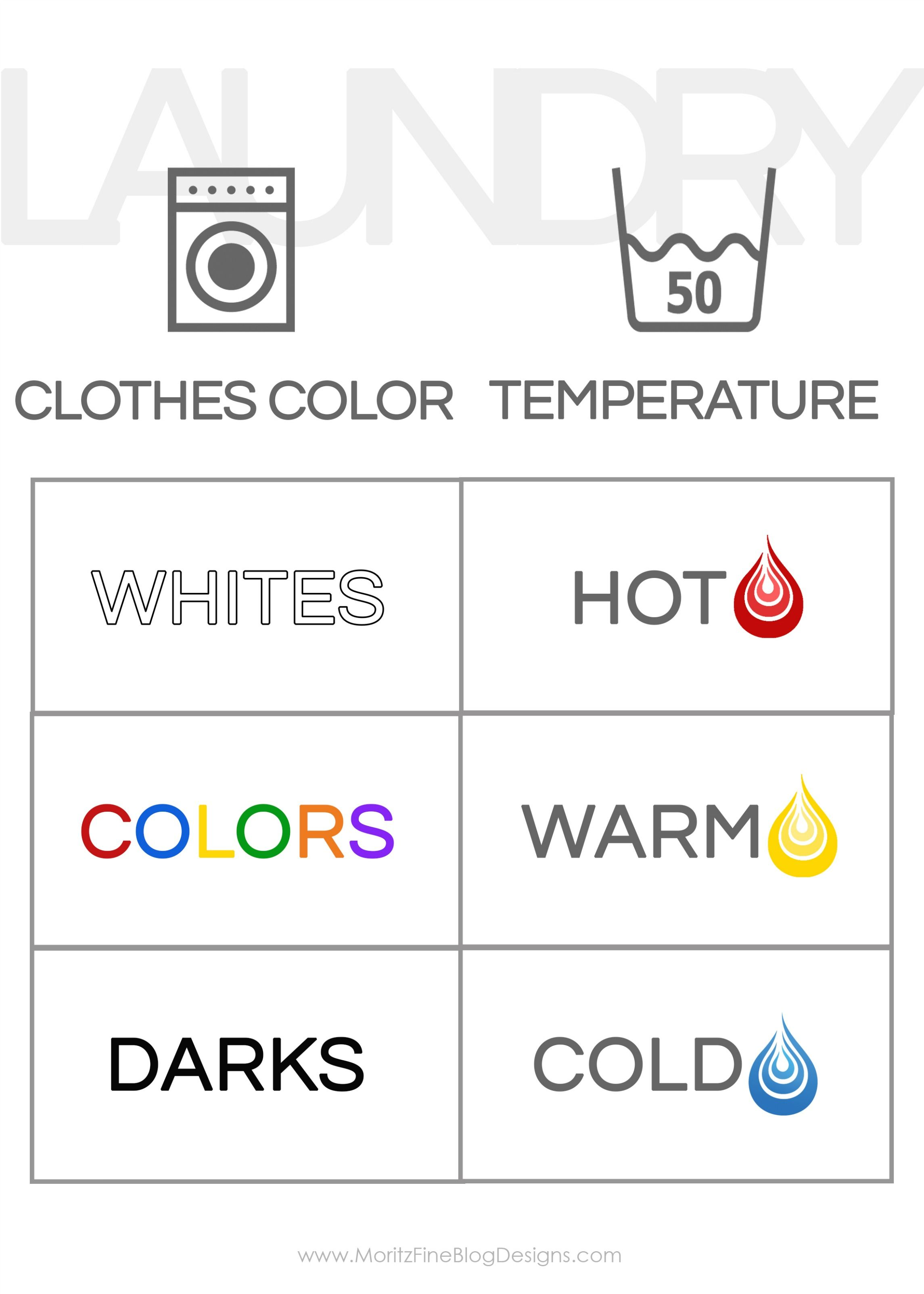 Do You Kids Need To Learn How Laundry Hang This Handy Free Printable In The Room So They Can Remember What Settings Use On Washing