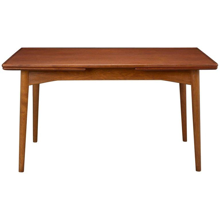 Danish Modern Teak Dining Table With Two Pull Out Leaves By Omann