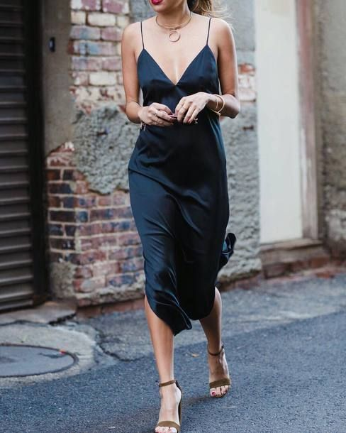 107f85c660  134 Bebe s Perfect Slip Dress For The Perfect Date Dark Navy Blue Emerald  Green V-Neck Satin Strappy Cami Slip Midi Dress With A Gold Statement  Choker ...