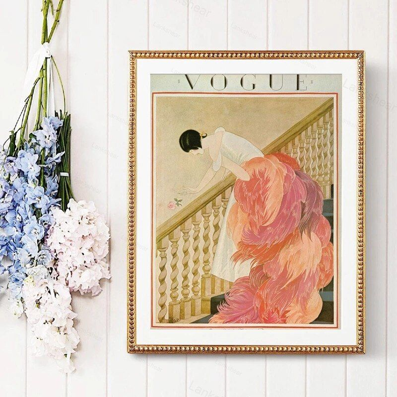 Flamingo Girl Model Vintage Fashion Cover Poster Prints Pink Feather Chic Wall Art Picture Canvas Painting Bedroom Decoration In 2020 Chic Wall Art Poster Prints Wall Art Pictures