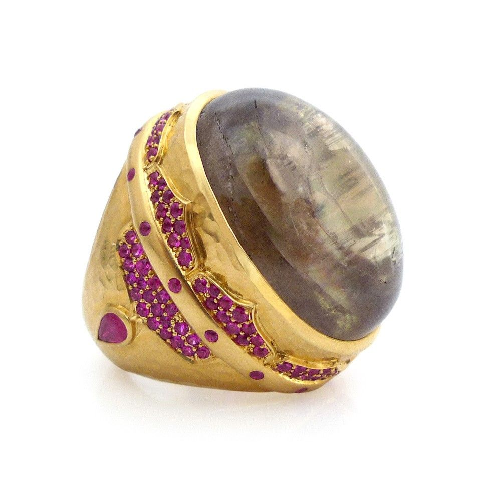 Zultanite and Ruby Pasha Cocktail Ring by Daniel Gibbings