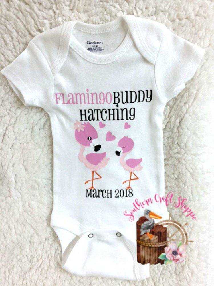 557b7a160 Flamingo Buddy Hatching, Birth Announcement, Baby Announcement, New baby,  Announcement Bodysuit, Baby Clothes,Girl or Boy, Keepsake by  SouthernCraftShoppe ...