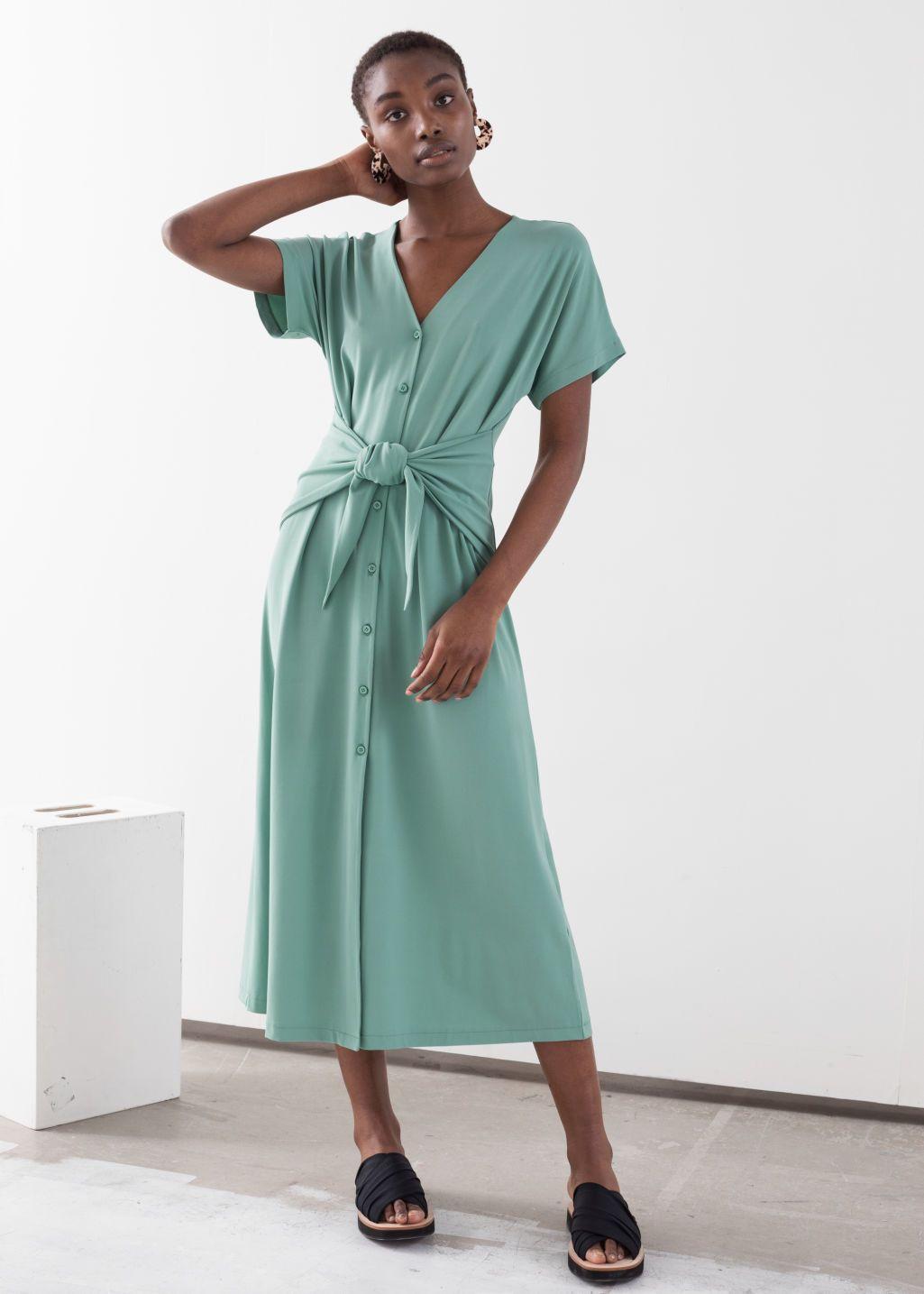 Waist Tie Midi Dress Mint Midi Dresses Other Stories Midi Dress Wrap Dress Dresses [ 1435 x 1025 Pixel ]