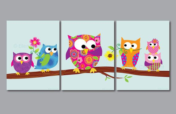 kids wall art print set owls for girls kids decor - Owl Pictures For Kids