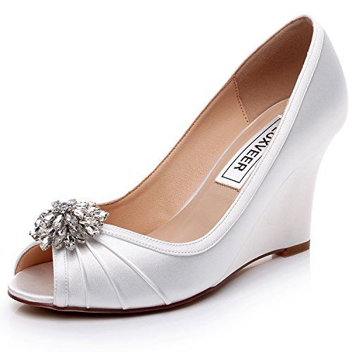 151b6a9b621 LUXVEER Ivory Satin Peep Toe Women Dress Shoes