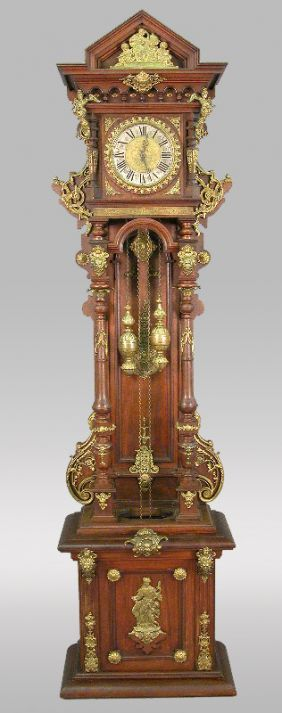 249 An Ornate Austrian German Grandfather Clock With