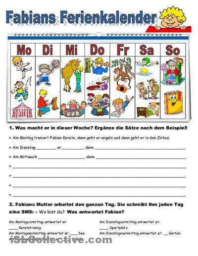 Fabians Ferienkalender Arbeitsblatt - Kostenlose DAF Arbeitsblätter ...