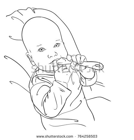 Sketch Of Baby Boy Ore Girl Chewing Spoon And Finger Hand Drawn