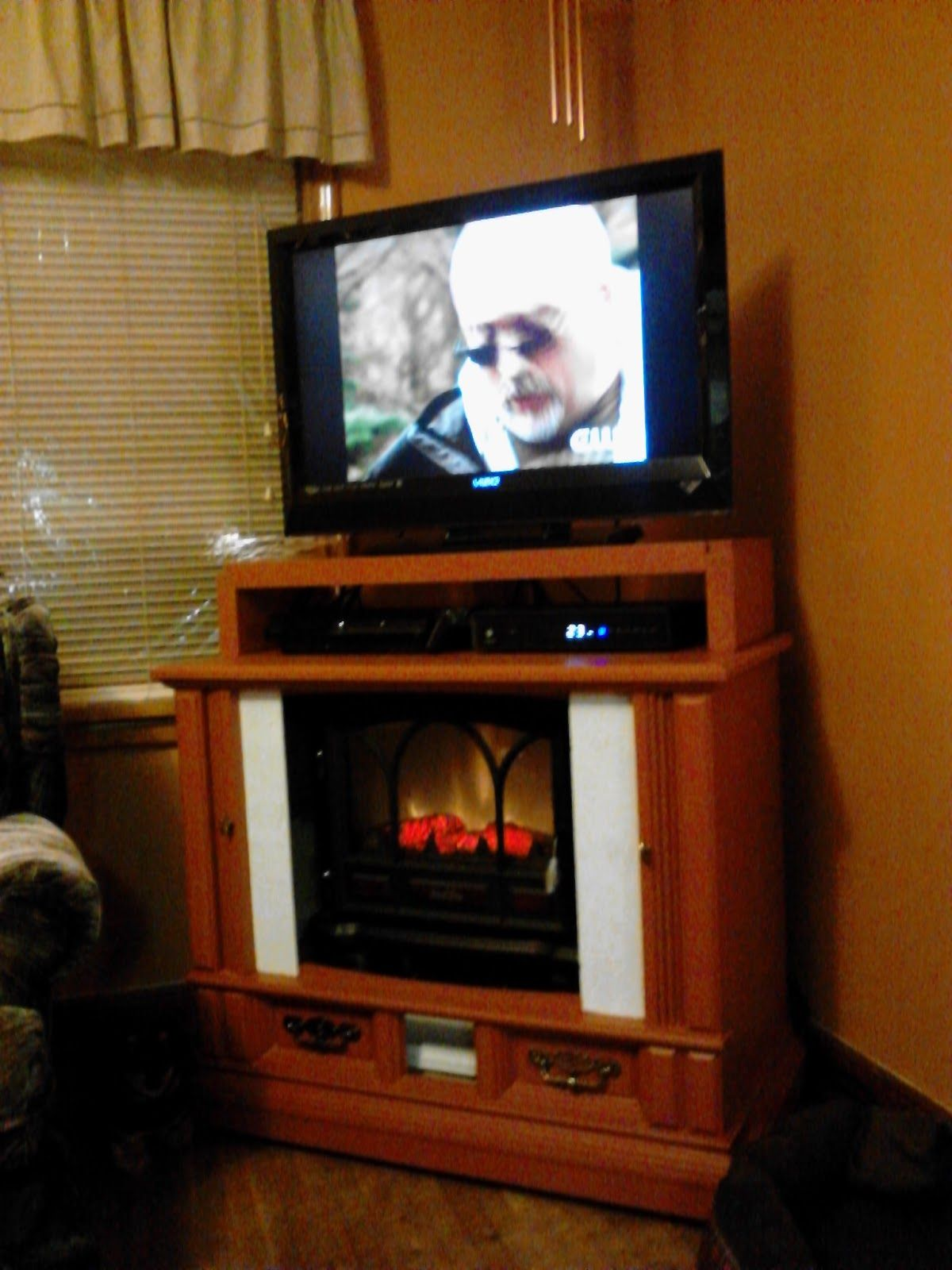 My Blog Repurpose Old Tv Console To Fireplace Media