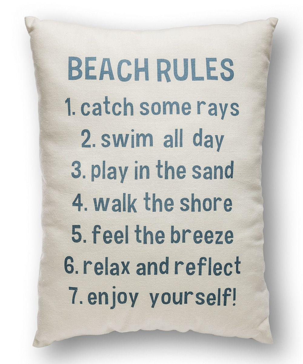 Beach Rules Throw Pillow Beach Rules Beach Condo Decor Beach