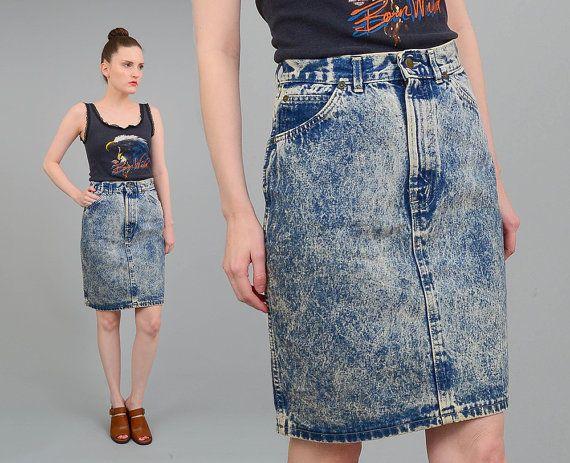 3683990f3b Vintage 80s Acid Wash Skirt - Denim Skirt - High Waist Skirt - Tight Fitted  Body Con Denim Skirt - Small Medium S M 26 27 by SHOPPOMPOMVINTAGE
