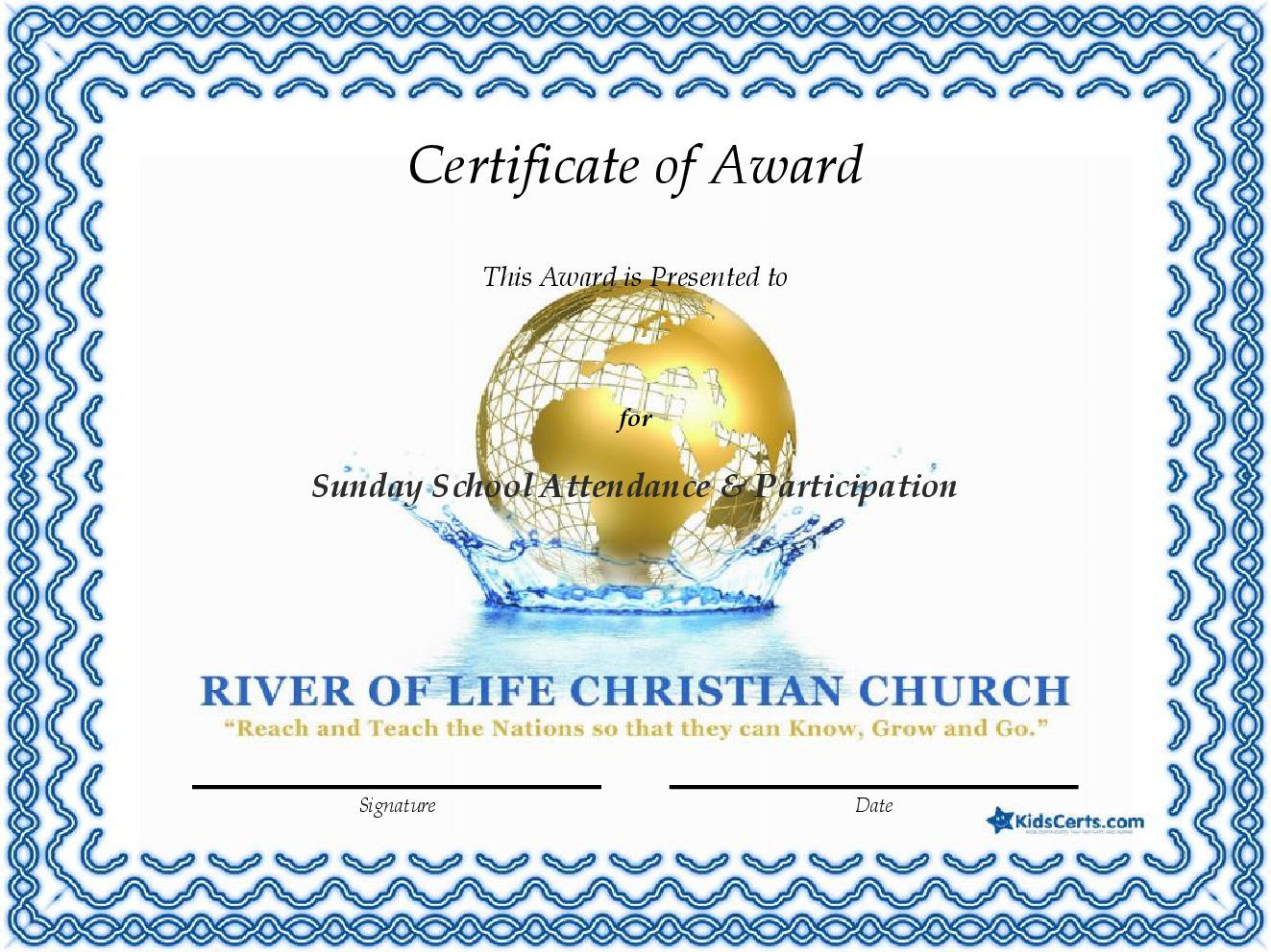 Certificate of award sunday school attendance