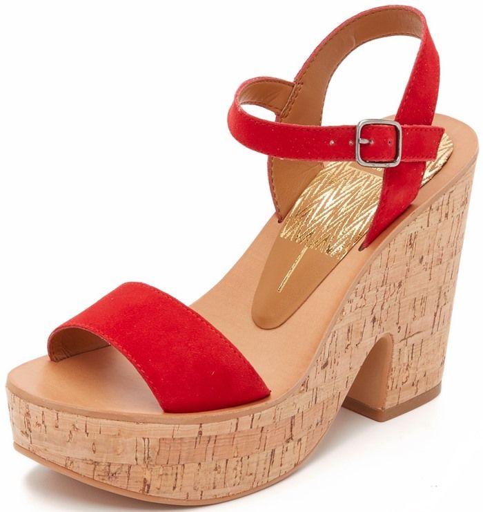 f44216424f7 Retro-Inspired Cork Platform Wedge Sandal in Red