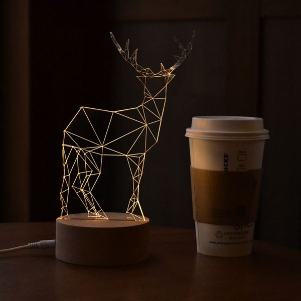 3d Led Usb Deer Night Table Light Creative Animal Solid Wood Decoration Gift Lamp Wooden Table Light Light Decorations Light Table