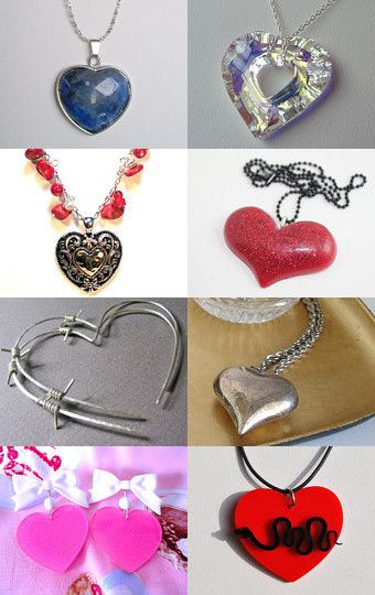 --Pinned with TreasuryPin.com = All hearts including my red turquoise heart necklace.