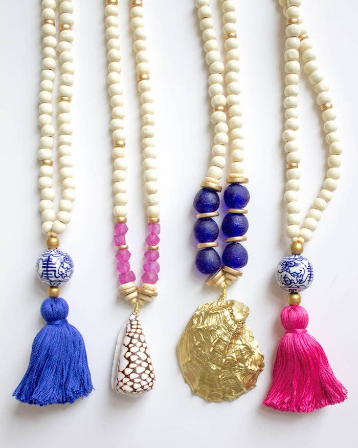 North Shore Shell And Gold Tassel Pendant NecklaceMitrella Bella Shell NecklaceColorful Pendant Necklace