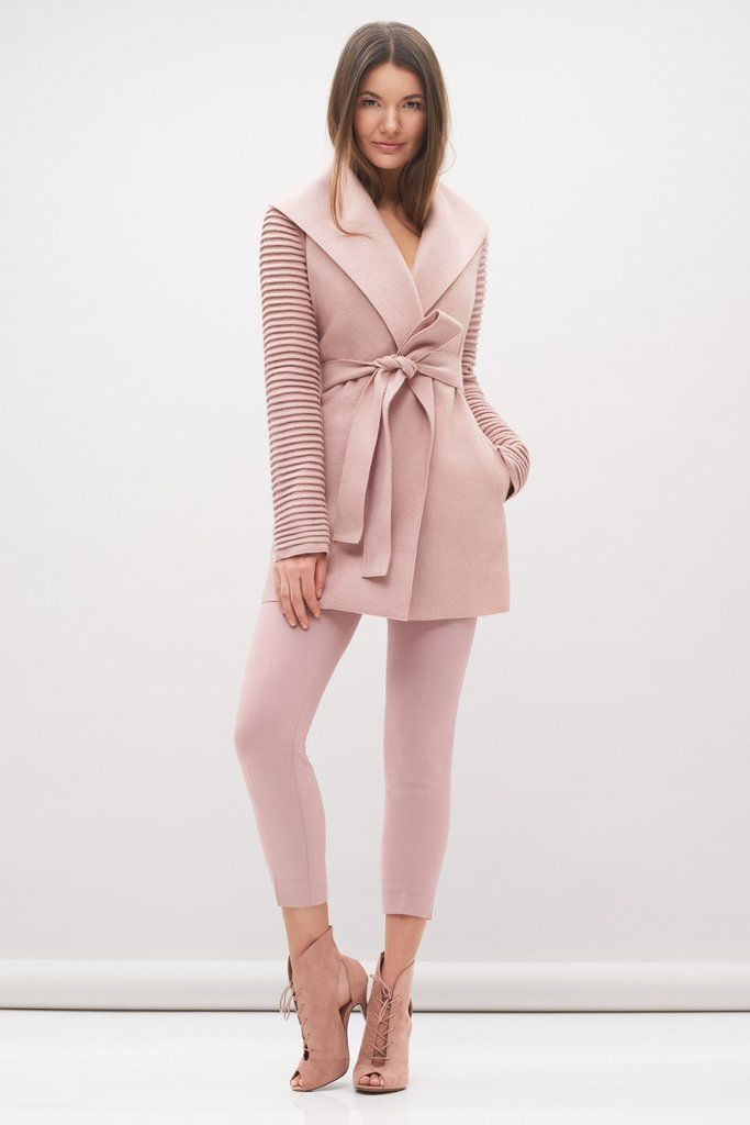 Wrap Coat with Ribbed Sleeves | Jackets & Blazers | Pinterest ...