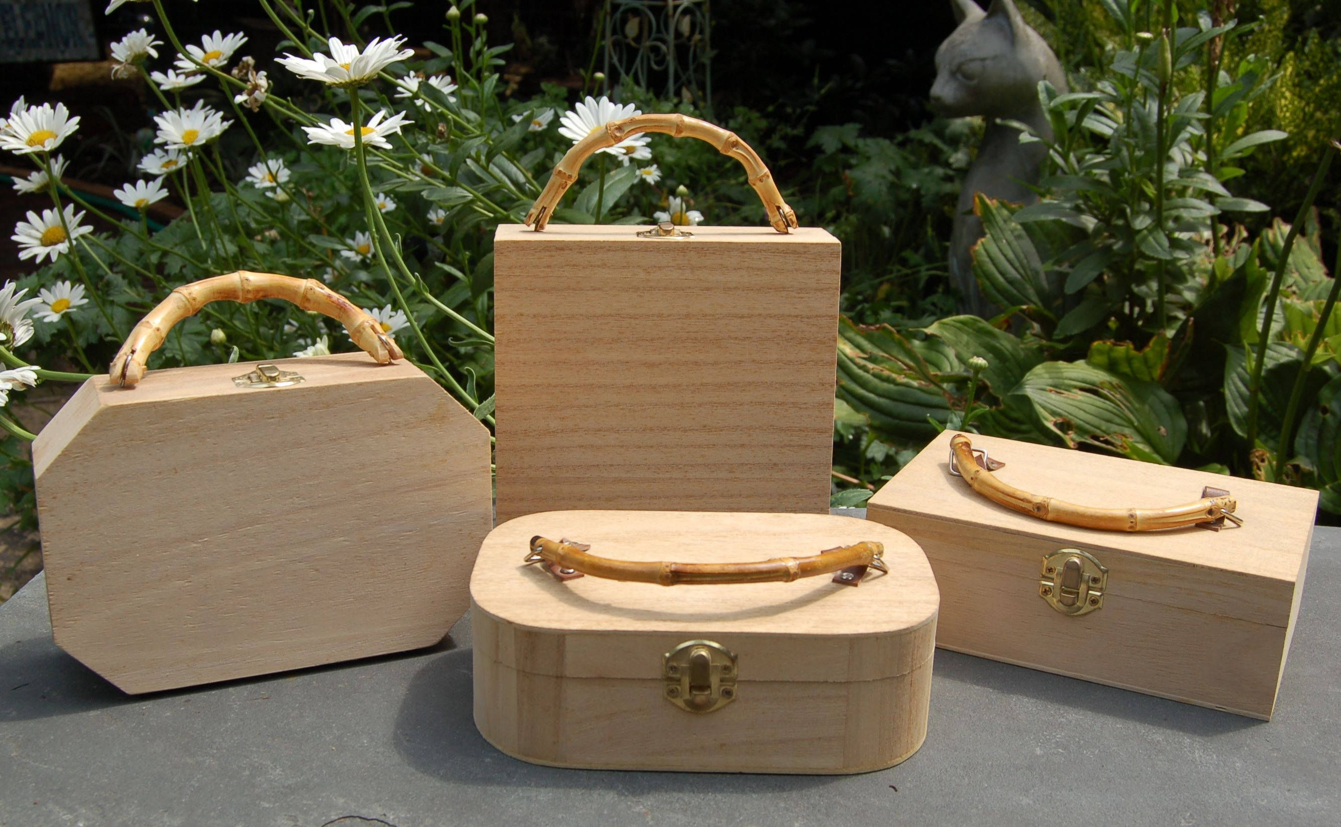 Bamboo handle unfinished wood cigar box purse by