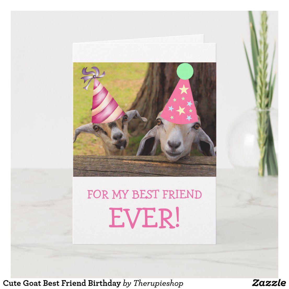 Cute goat best friend birthday card in 2020