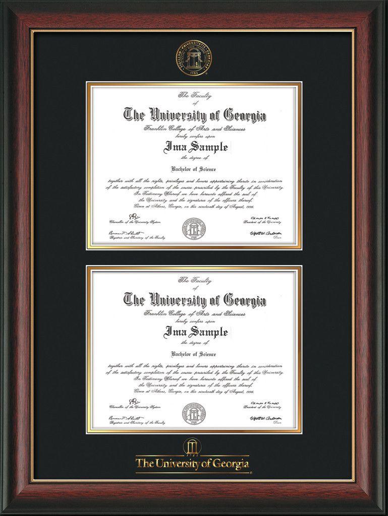 University Of Georgia Diploma Frame Rosewood Wgold Lip With Uga