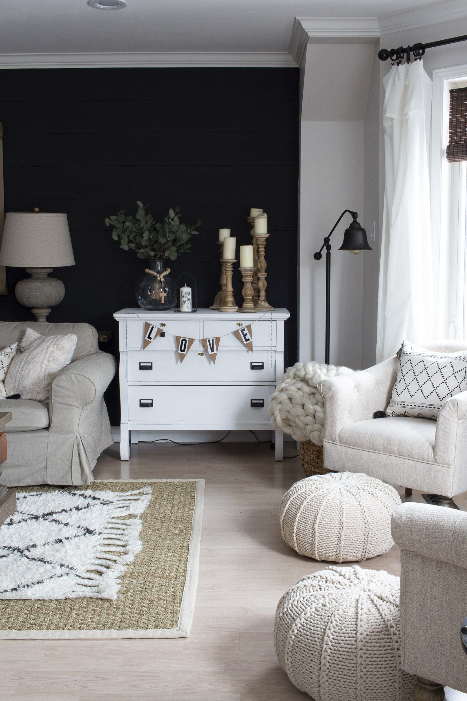 A Very Neutral Spring Farmhouse Living Room Farm House Living Room Black Accent Walls Black Accent Wall Living Room