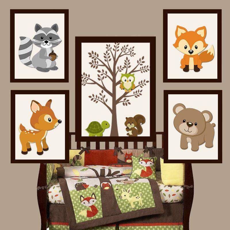 Woodland Nursery Art Decor Forest Friend Animals Baby Shower Canvas Or Prints Set Of 5 Birthday