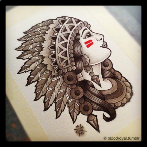 Great White Buffalo Native American Headdress Tattoo: Native American Skull And Headress