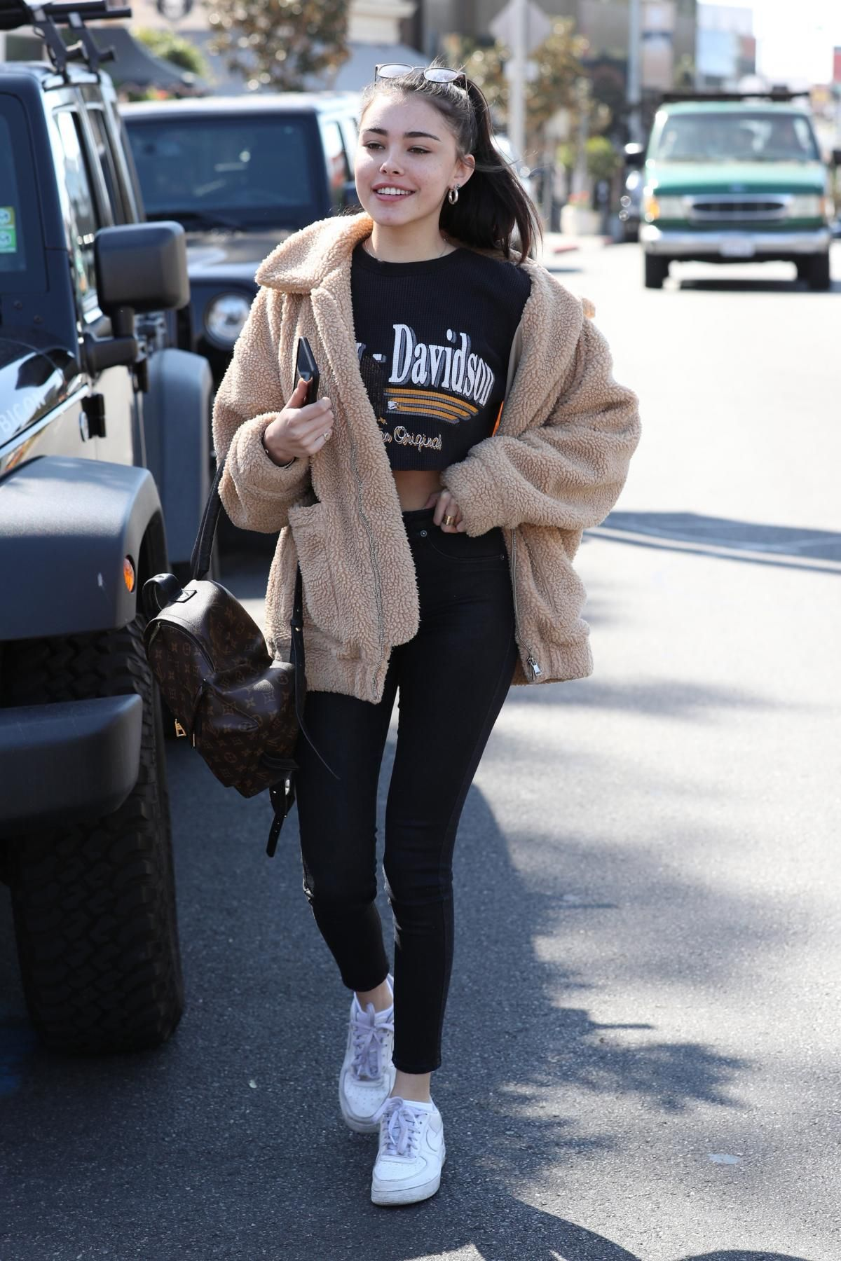 buy online 28d27 a6286 Madison Beer wearing I.am.gia Pixie Teddy Coat, Nike Air Force 1 Sneakers  and Louis Vuitton Palm Springs Backpack