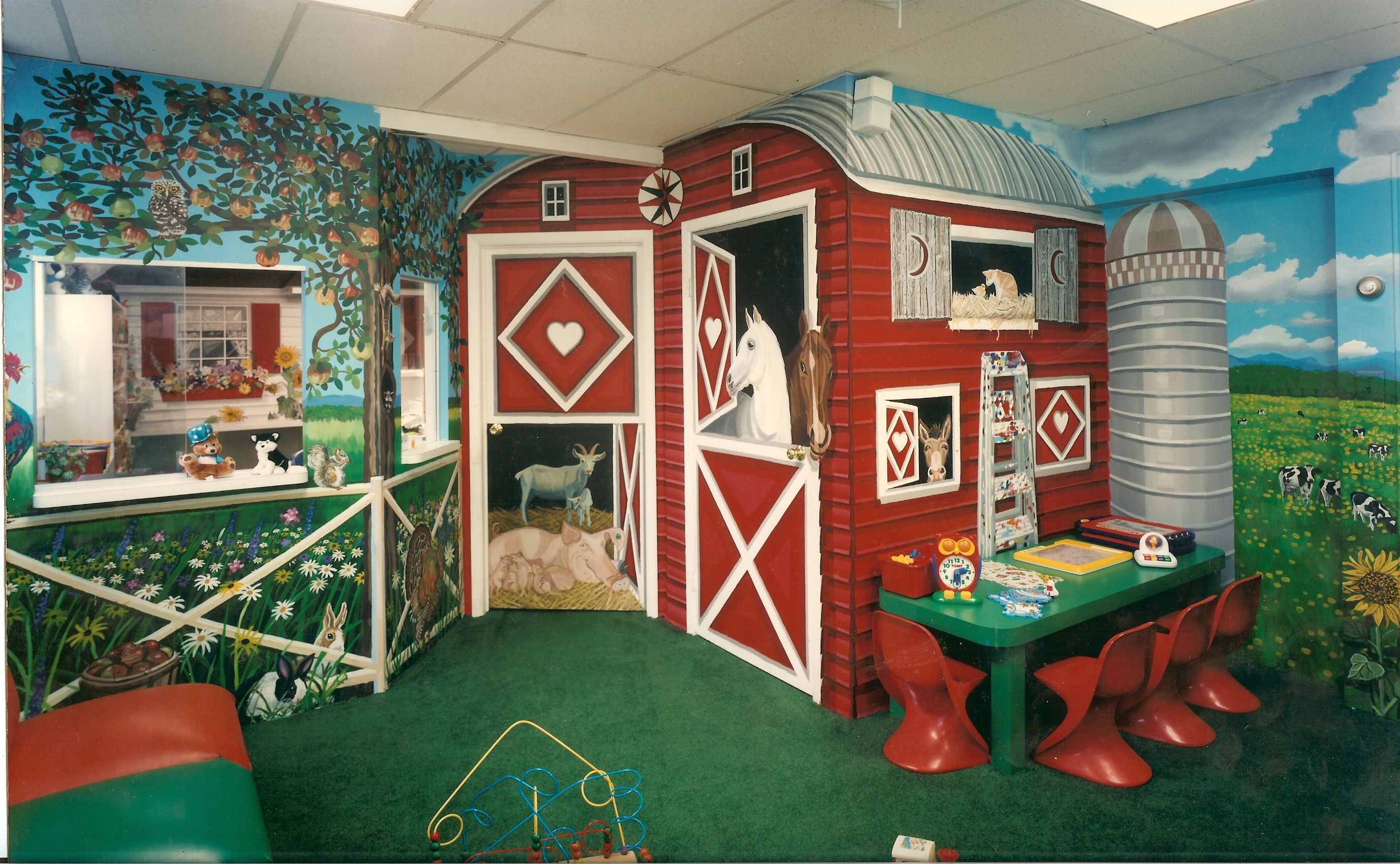 Kid dental chairs - Dental Office Waiting Room Design Farm Mural For Waiting Room Of Dr