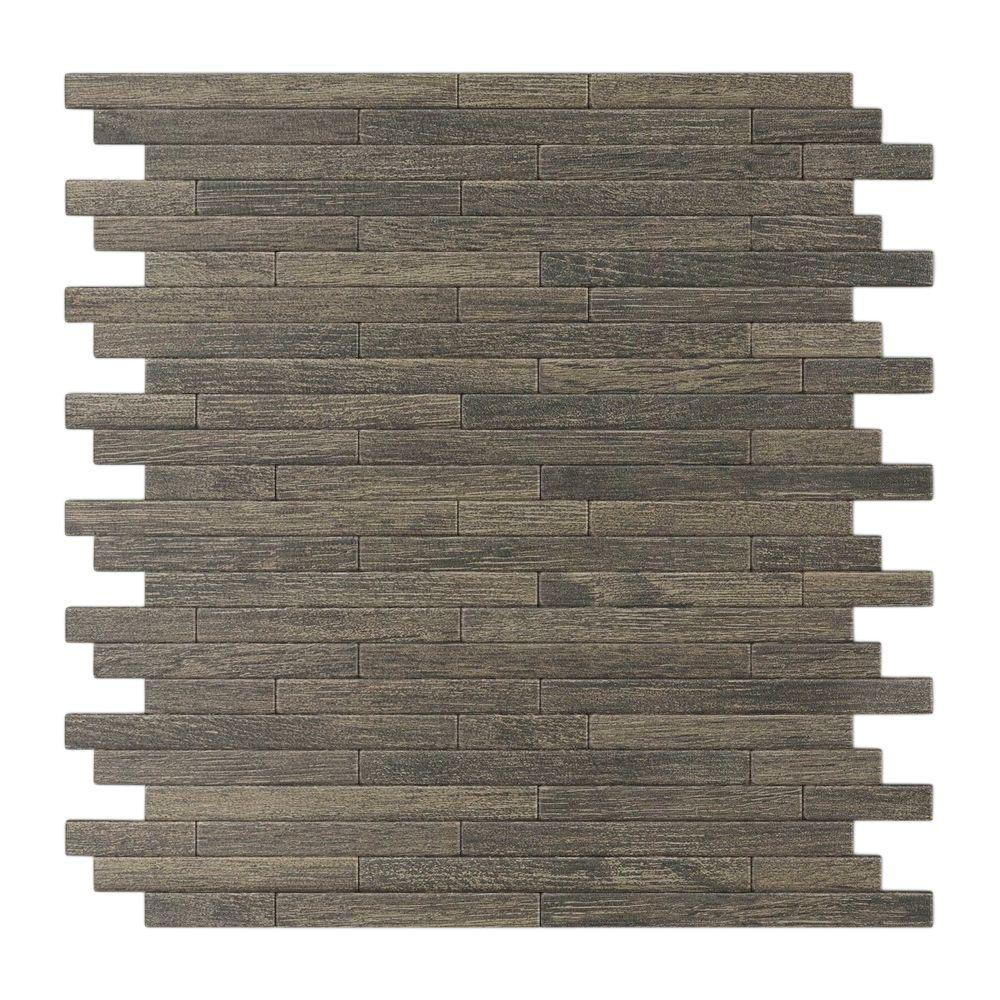 Inoxia Speedtiles Woodly Painted Natural Wood 12 09 In X 11 97 In X 5 Mm Metal Self Adhesive Wall Mosaic Tile Usiw401 1 Decorative Wall Tiles Metal Mosaic Tiles Rustic Tile