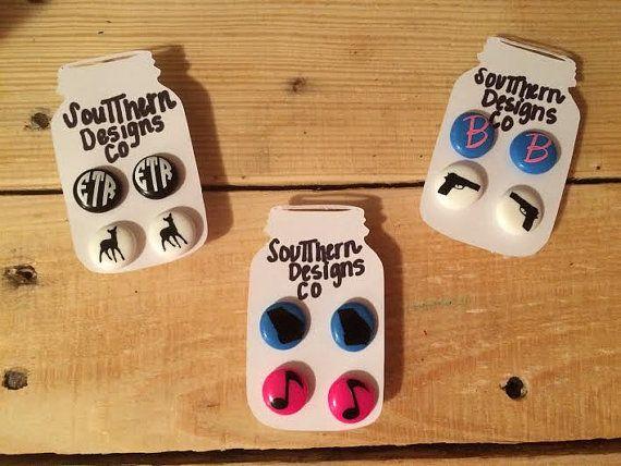 Personalized Handmade Earrings Custom Earrings Biggie Perler Earrings Biggie Perler Bead Earrings Diy Vinyl Projects Silhouette Crafts Vinyl Monogram