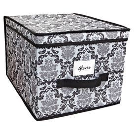 """Storage box with a damask motif.Product: Storage boxConstruction Material: PolyesterColor: Black and whiteDimensions: 10"""" H x 12"""" W x 16"""" D"""