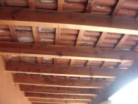 Construir hacer una cubierta tejado estructura de - Pergolas madera baratas ...