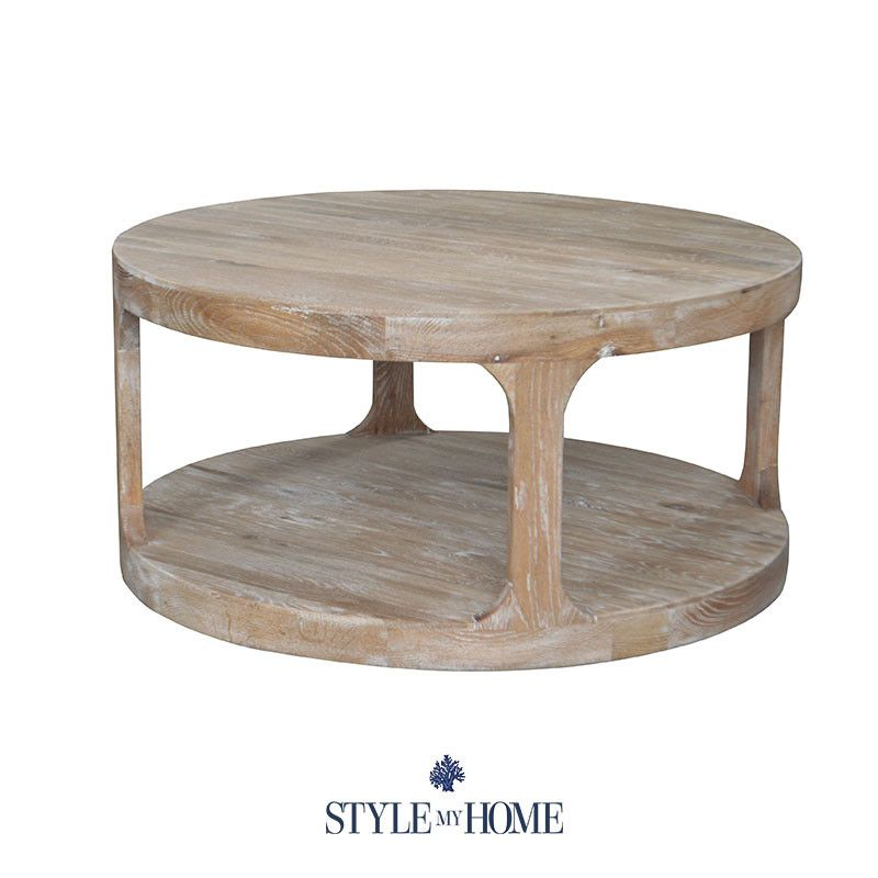 Milla Whitewash Round Coffee Table Round Wood Coffee Table