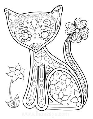 Day Of The Dead Coloring Book Cat By Thaneeya Skull Coloring