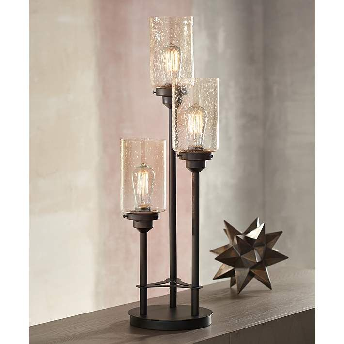 Libby 3 Light Industrial Console Lamp With Edison Bulbs In 2018