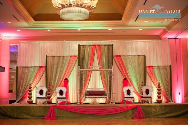 Mehndi Backdrop Diy : Gorgeous pink green and gold pakistani wedding mehndi stage at