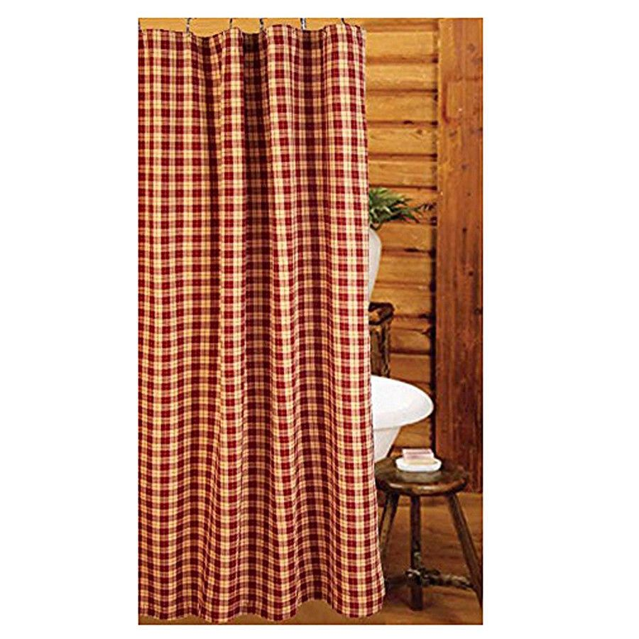 New Primitive Navy Red Tan AMERICANA PATCHWORK Quilt Fabric Shower Curtain