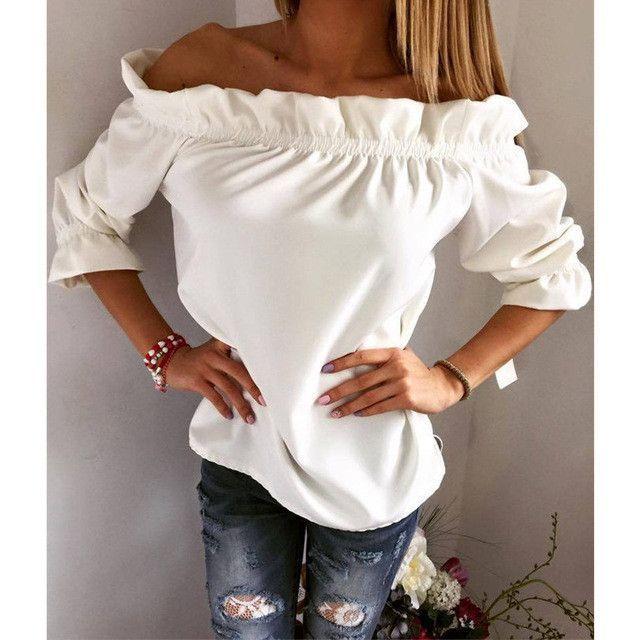 c1698550d8e Women Blouse Puff Sleeve Slash Neck Solid Shirt Strapless Off Shoulder  Ruffles Feminine Ladies Tops