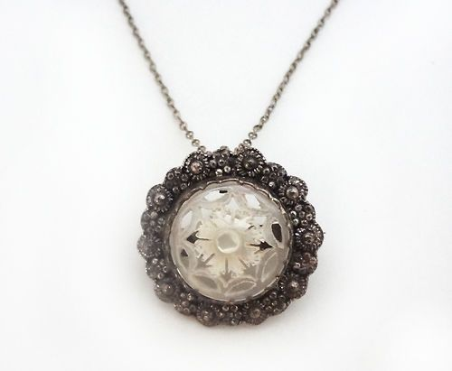 835 Silver Antique Necklace MOP Mother of Pearl Pendant - Gift for vintage lover!
