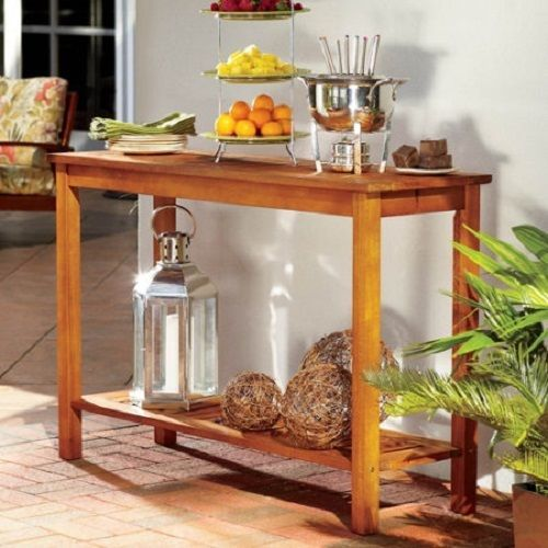 Nice Natural Eucalyptus Wood CONSOLE BUFFET TABLE Outdoor Deck Patio Furniture