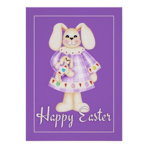Easter Bunny Girl purple 2 easter wall art