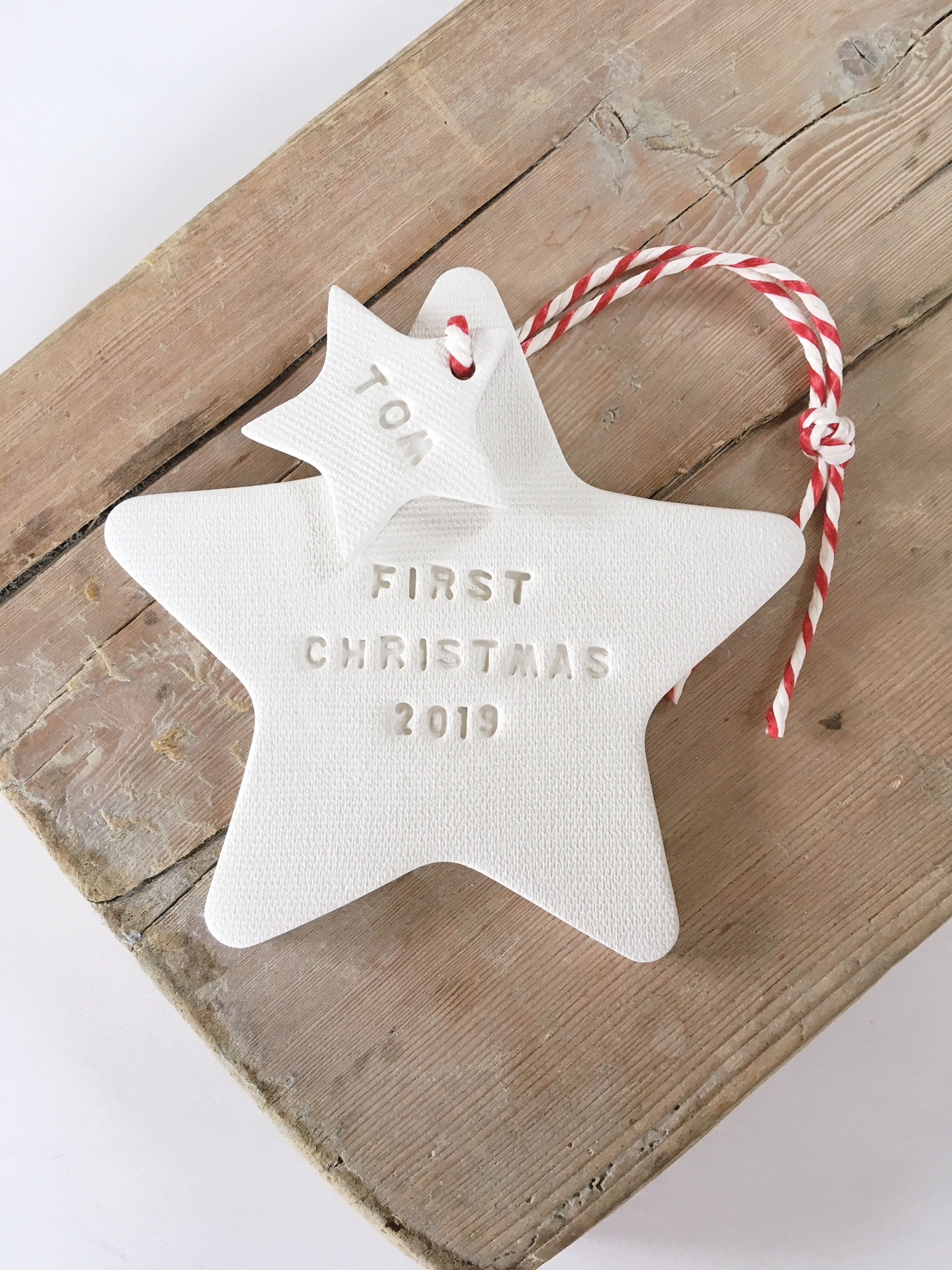 First Christmas 2020 White Clay Christmas Decoration Etsy Clay Christmas Decorations Christmas Clay Christmas Ornaments