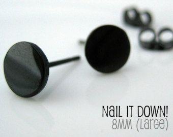 Men S Earrings Black Stud Jet For Fake Plug Gauge Steel Studs Nail It Down Size L 420l