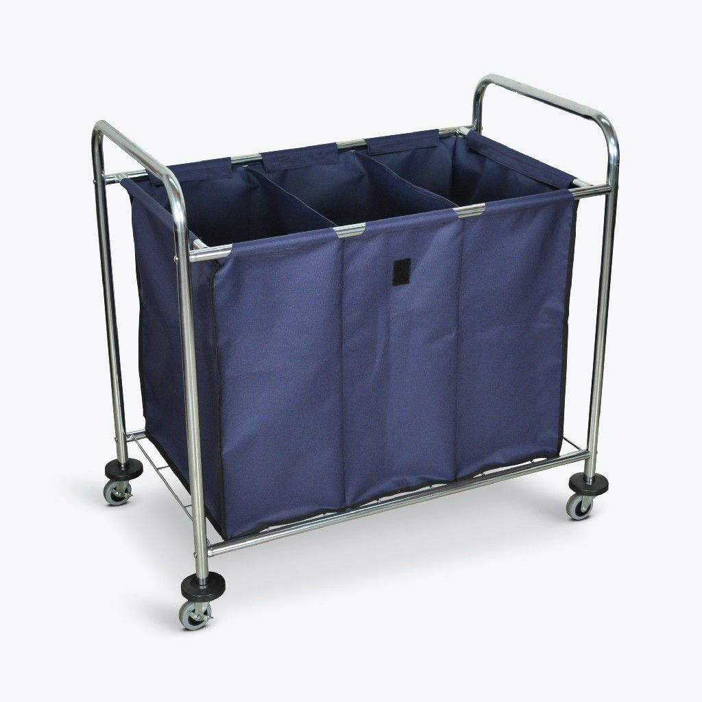 Industrial Laundry Cart W Steel Frame Navy Canvas Bag W