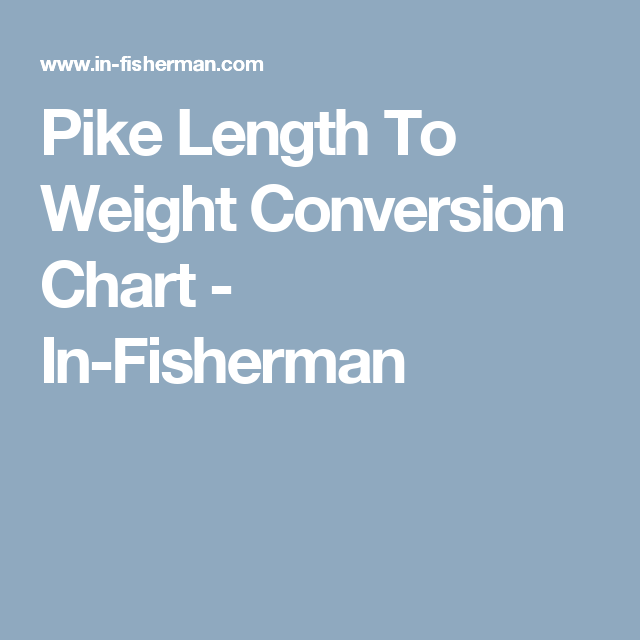 Pike Length To Weight Conversion Chart In Fisherman Fishing